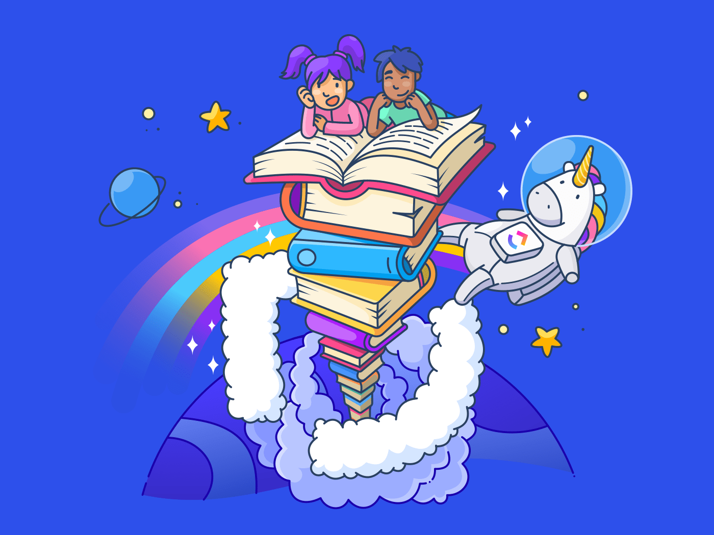 children reading a book in space