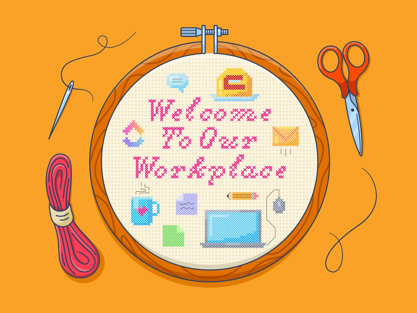 Welcoming new team members cross stitch illo