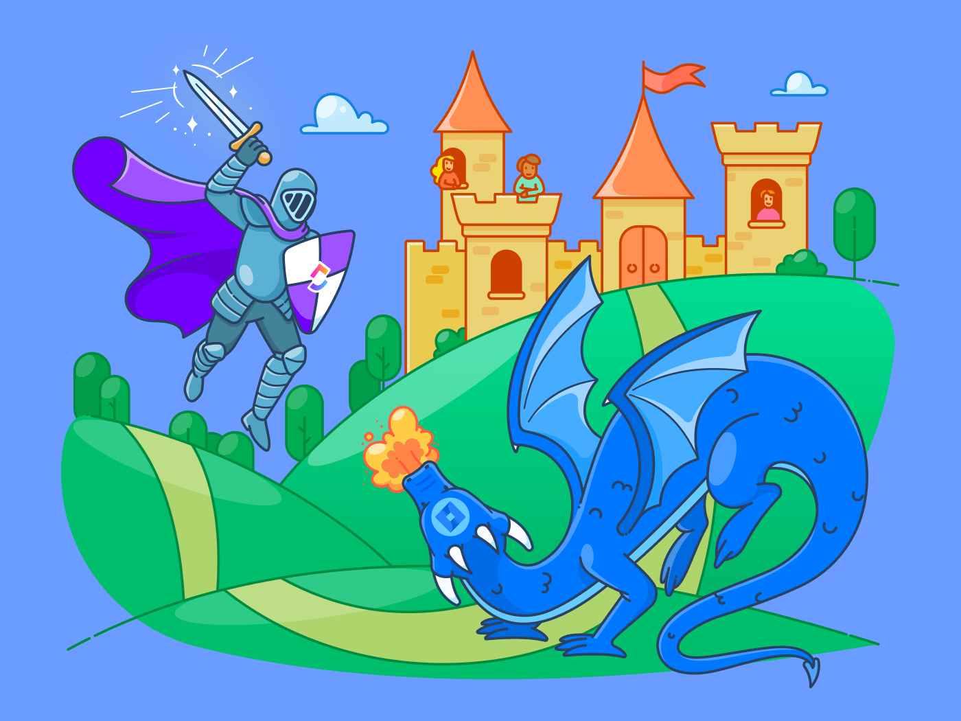 clickup knight fighting jira dragon